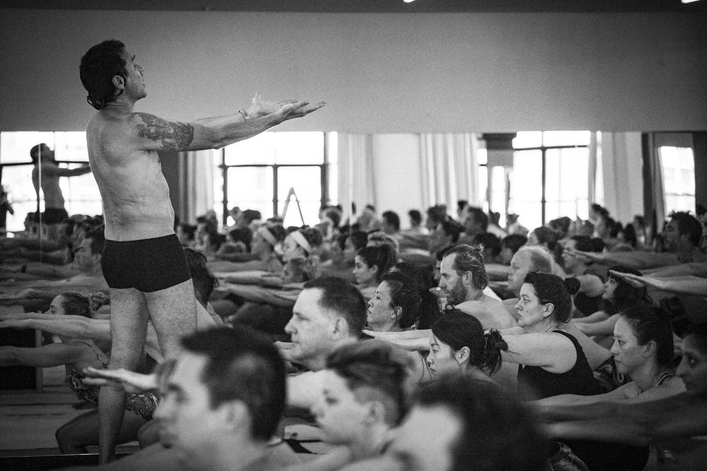 Dazzie conducting the philharmonic yoga class